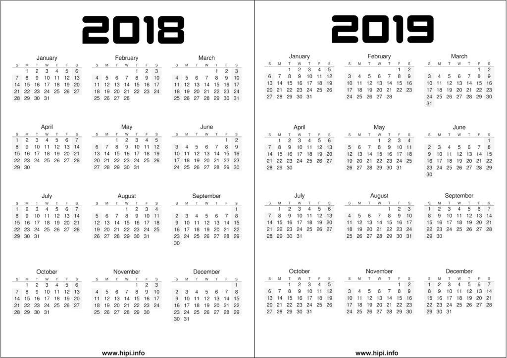 2018 - 2019 Calendar Printable Free - Free Download
