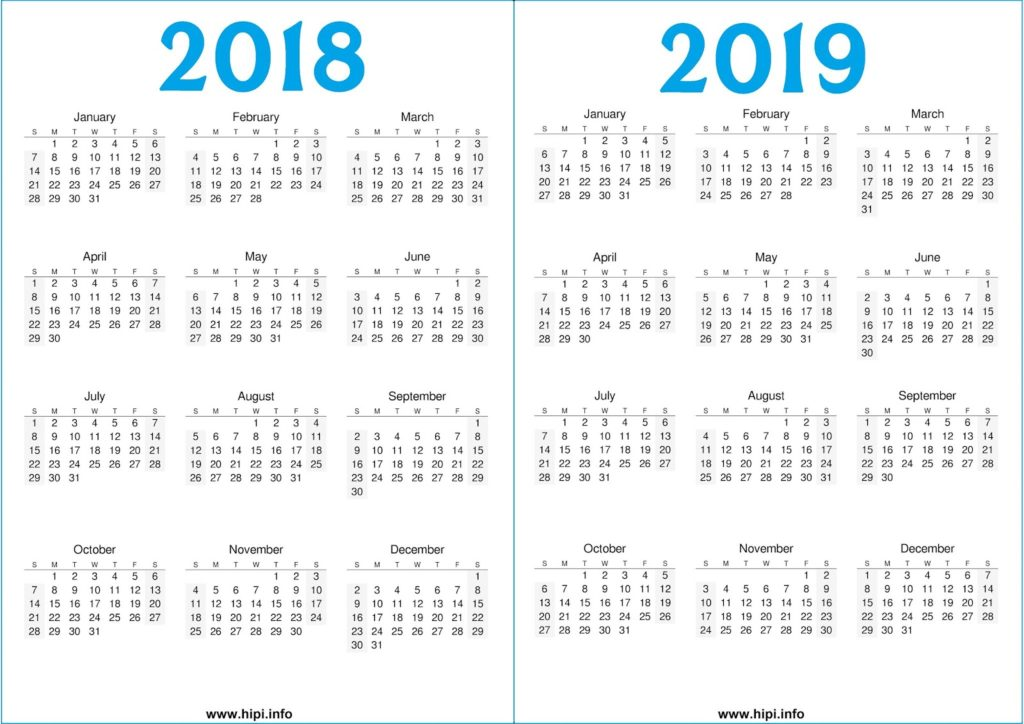 2018 - 2019 Calendar Printable Free - Free Download