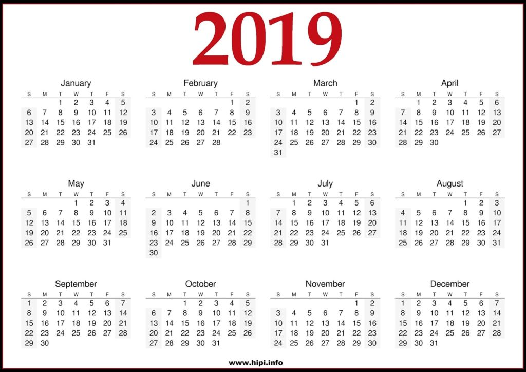 2019 Calendar Printable - One Page Printable Calendar Free