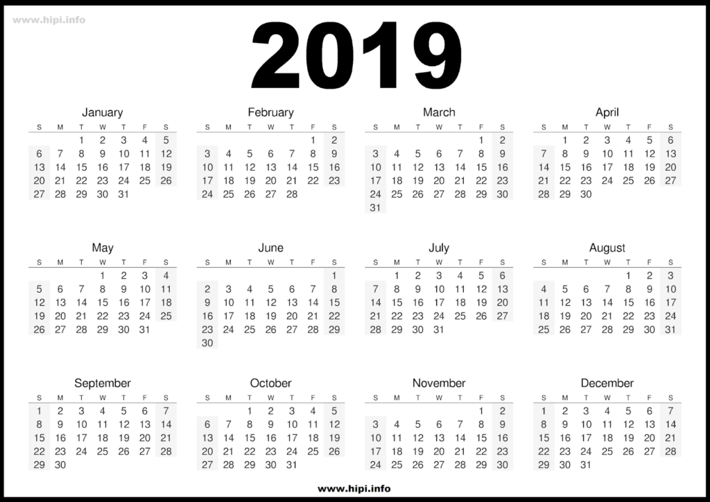 2019 Calendar Printable Free - Black and White