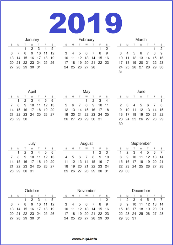 2019 Calendar Printable PNG - Free Download