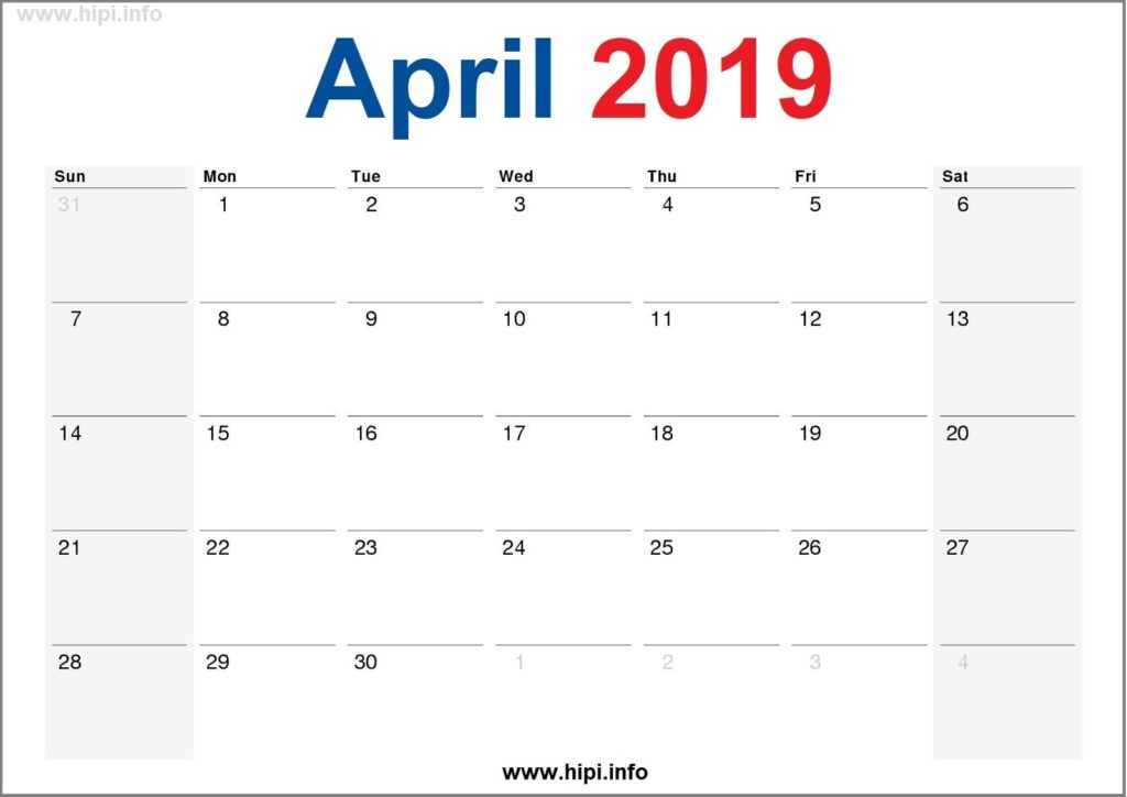 April 2019 Calendar Printable - Monthly Calendar Free