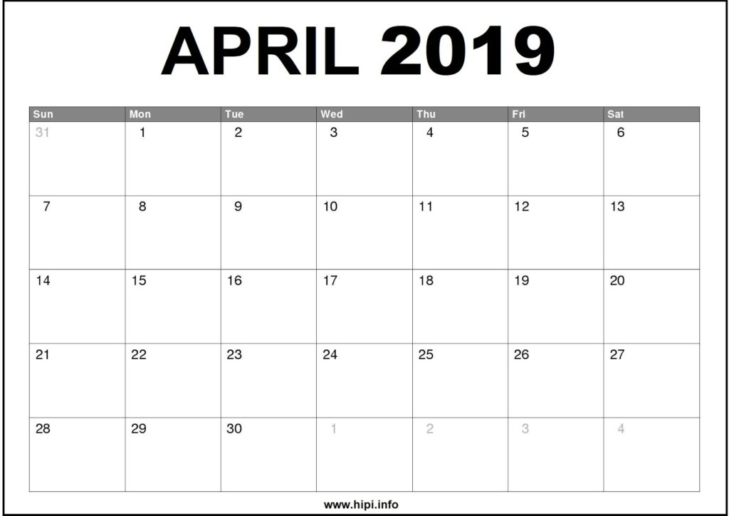 April 2019 Calendar Printable - Monthly Calendar Free Download
