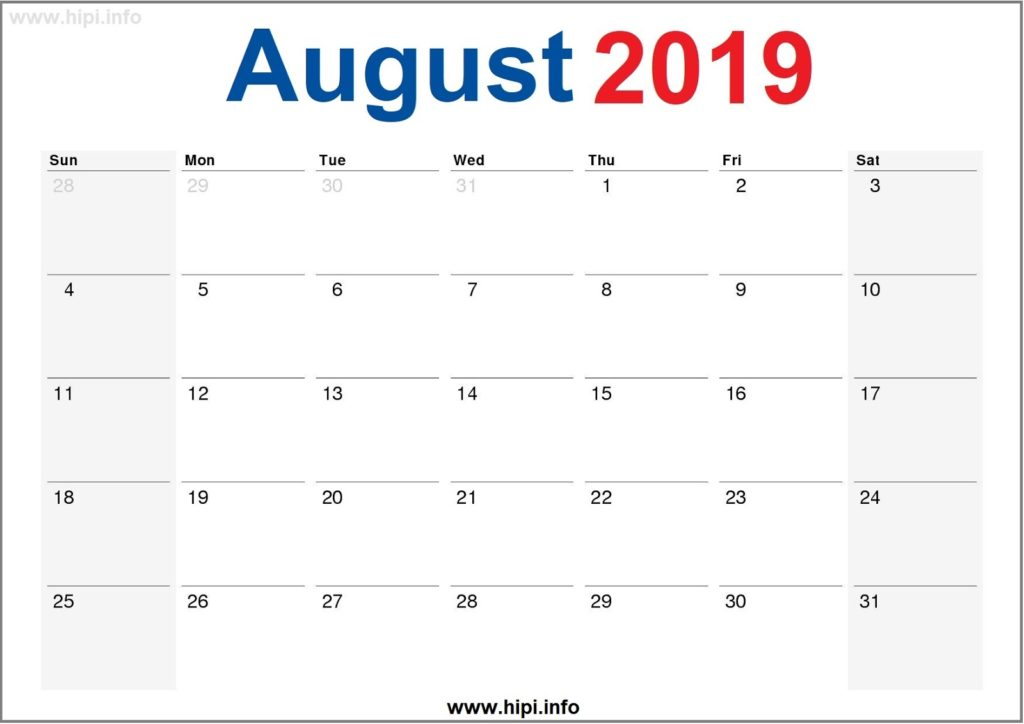 August 2019 Calendar Printable - Monthly Calendar Free
