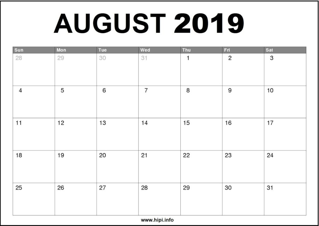 August 2019 Calendar Printable - Monthly Calendar Free Download