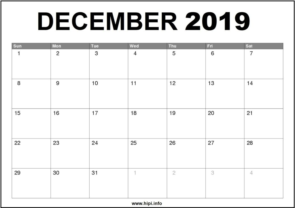 December 2019 Calendar Printable - Monthly Calendar Free Download
