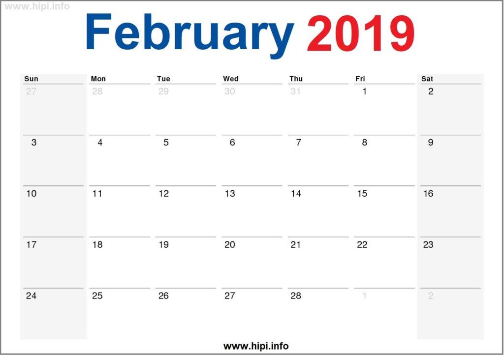 February 2019 Calendar Printable - Monthly Calendar Free