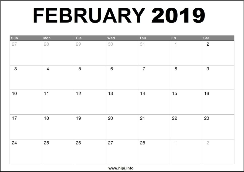 February 2019 Calendar Printable - Monthly Calendar Free Download