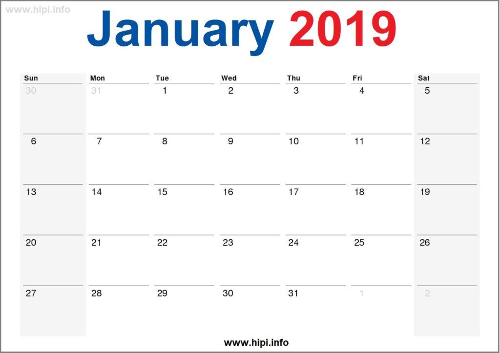 January 2019 Calendar Printable - Monthly Calendar Free