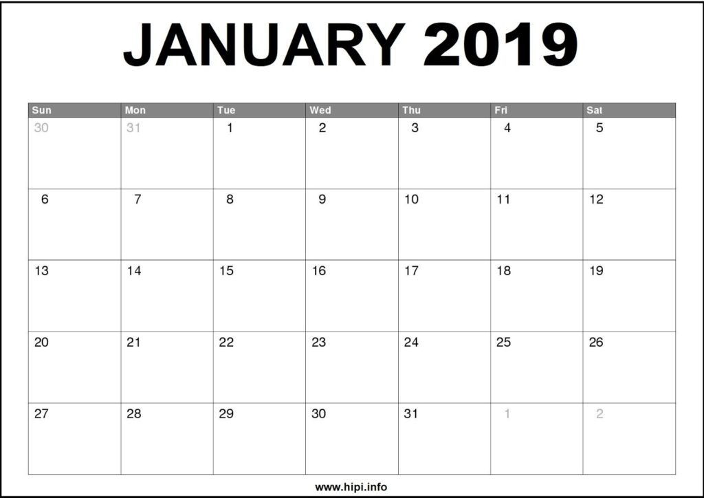 January 2019 Calendar Printable - Monthly Calendar Free Download