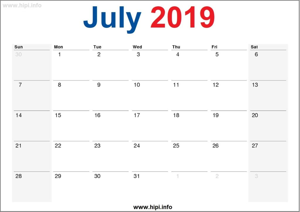 July 2019 Calendar Printable - Monthly Calendar Free