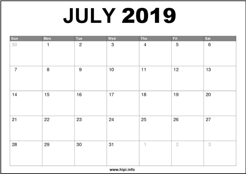 July 2019 Calendar Printable - Monthly Calendar Free Download