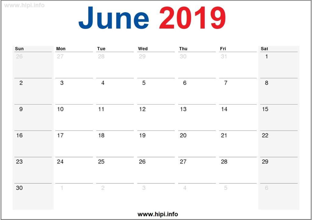 June 2019 Calendar Printable - Monthly Calendar Free