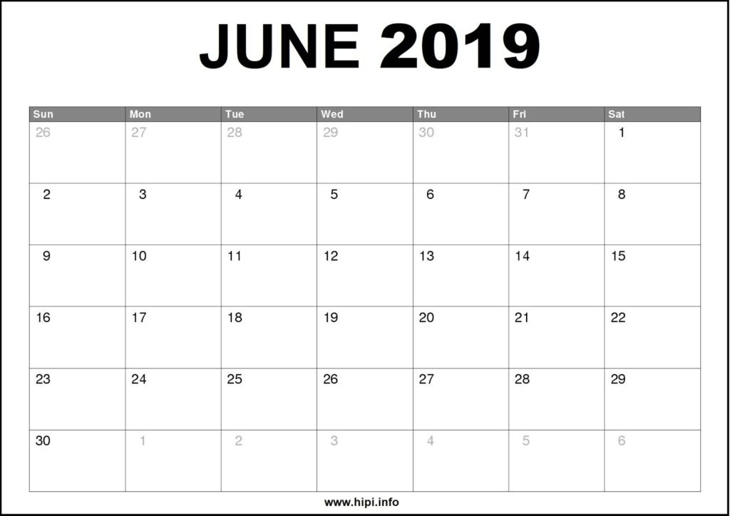 June 2019 Calendar Printable - Monthly Calendar Free Download
