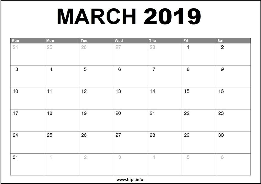 March 2019 Calendar Printable - Monthly Calendar Free Download