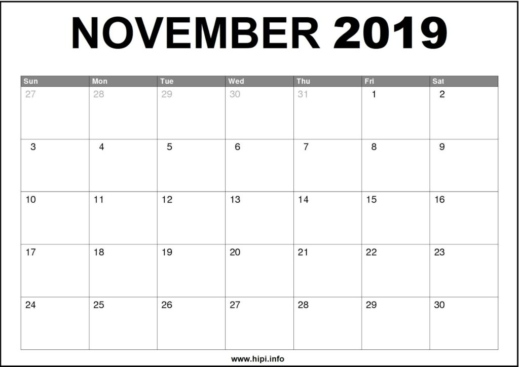 November 2019 Calendar Printable - Monthly Calendar Free Download