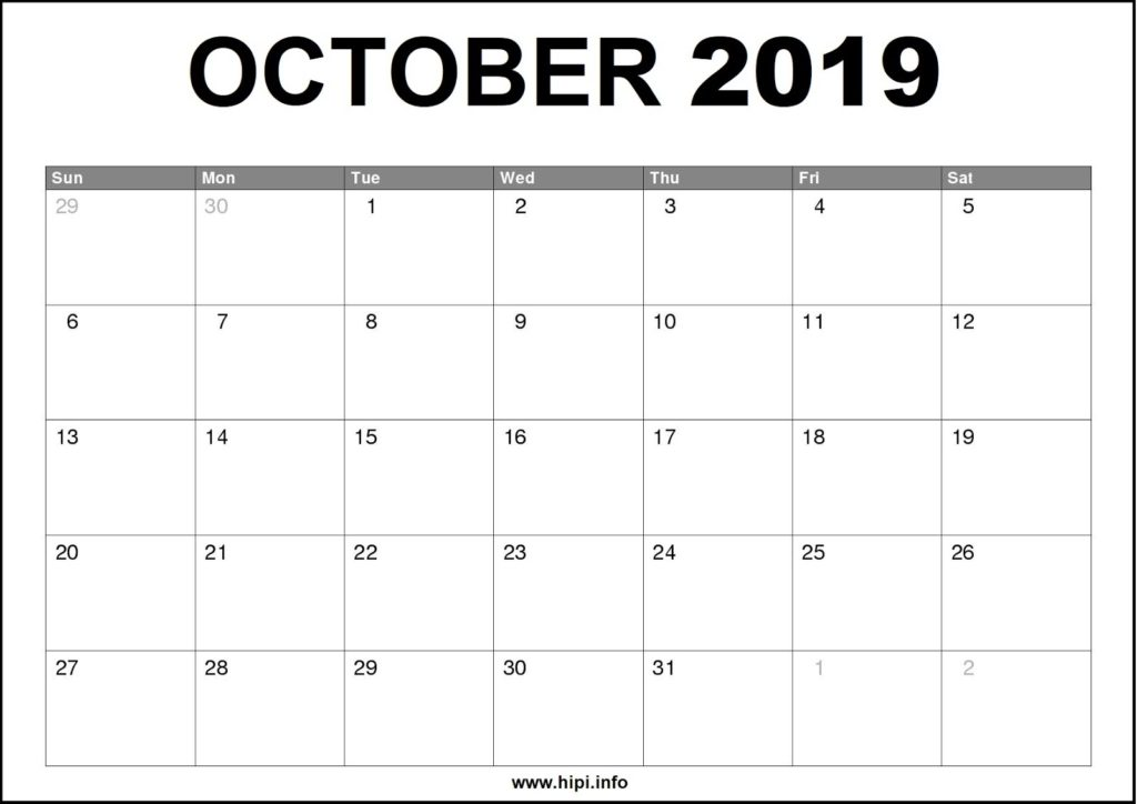 October 2019 Calendar Printable - Monthly Calendar Free Download