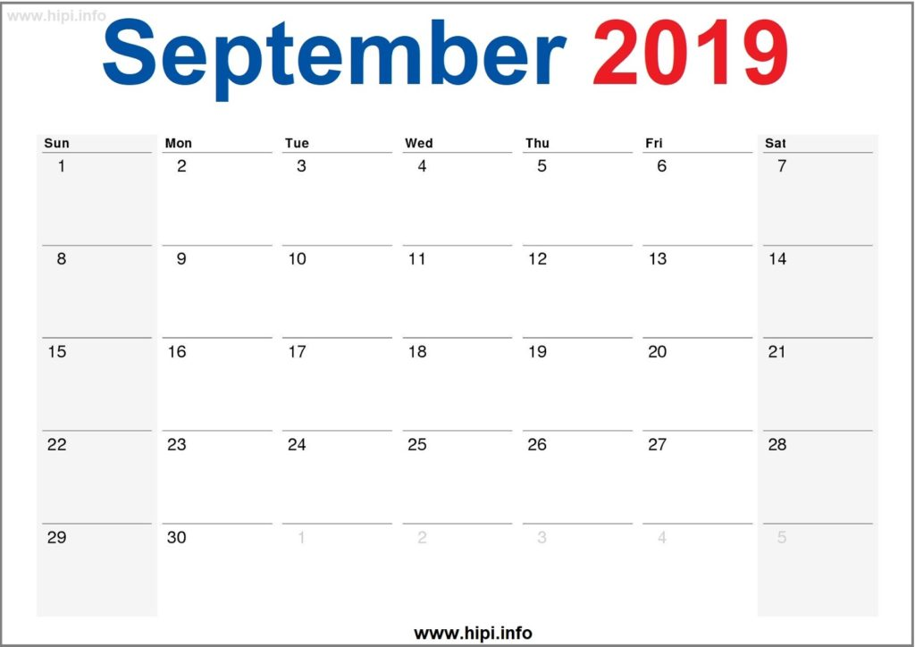 September 2019 Calendar Printable - Monthly Calendar Free