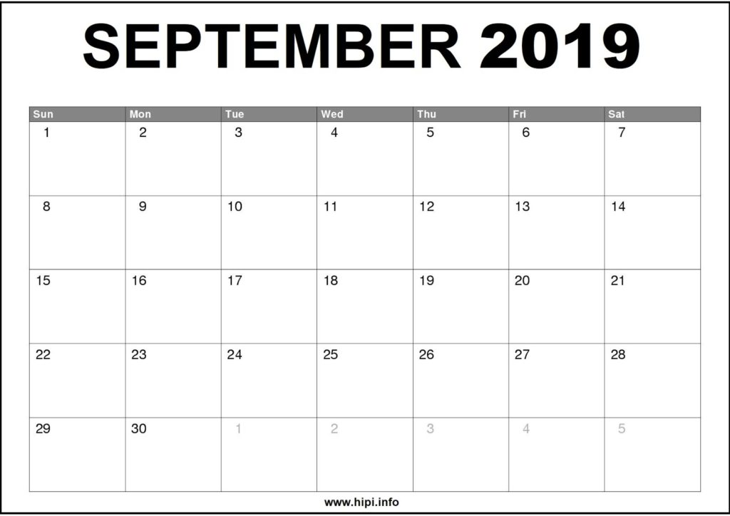 September 2019 Calendar Printable - Monthly Calendar Free Download