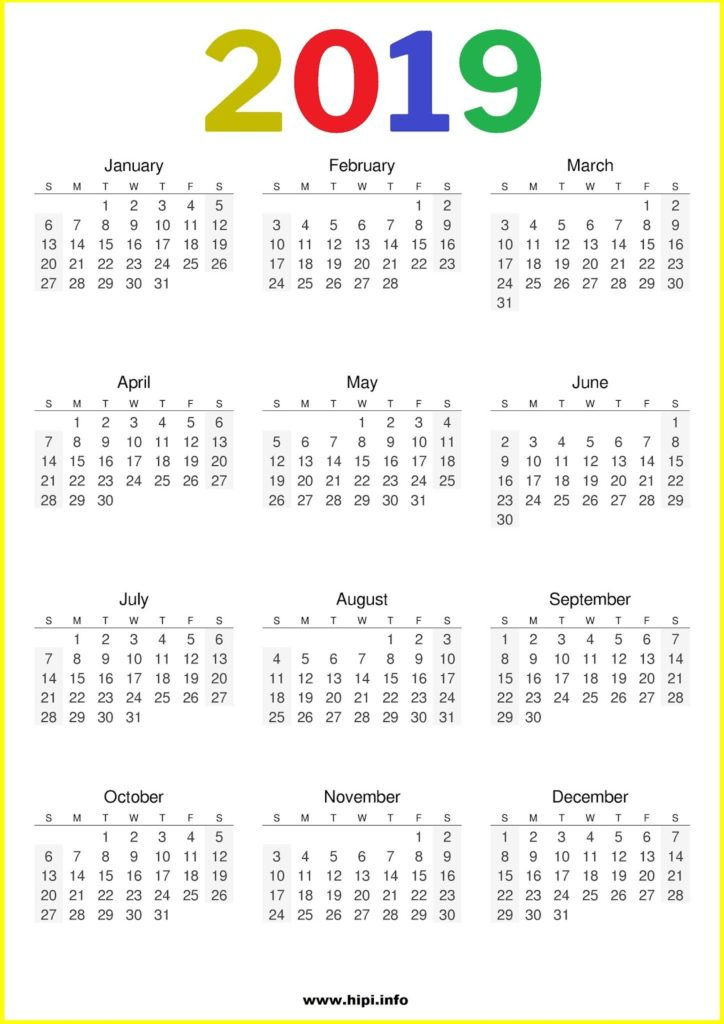2019 Calendar Printable Free One Page - Free Download