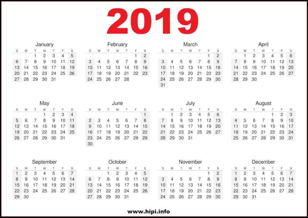 2019 Calendar Printable Free - One Page Printable Calendar