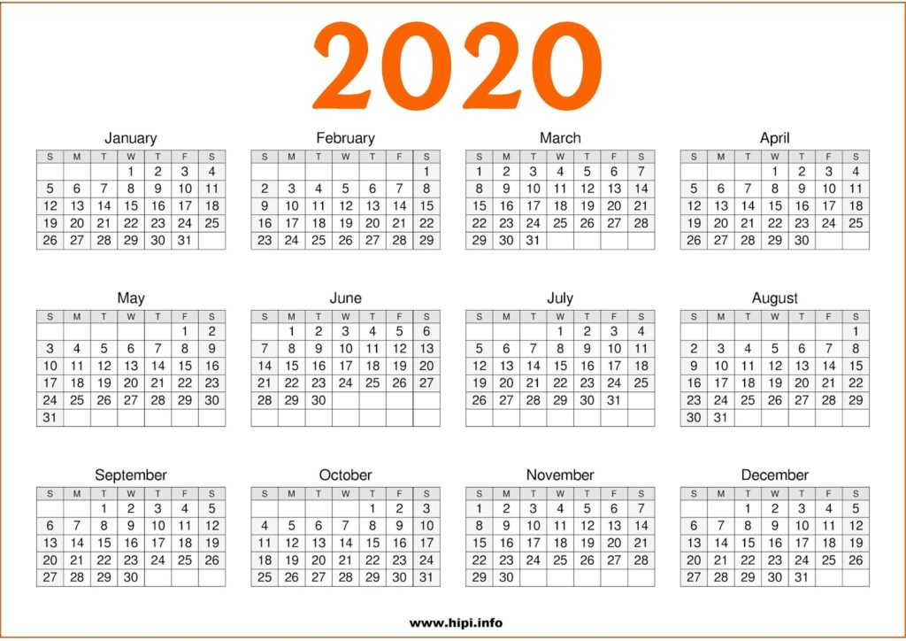 2020 Calendar Printable Free One Page - Free Download