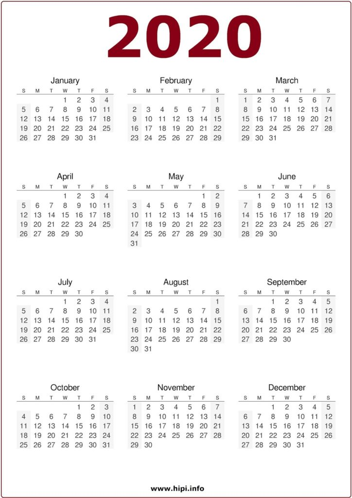2020 Calendar Printable Free - One Page Printable Calendar