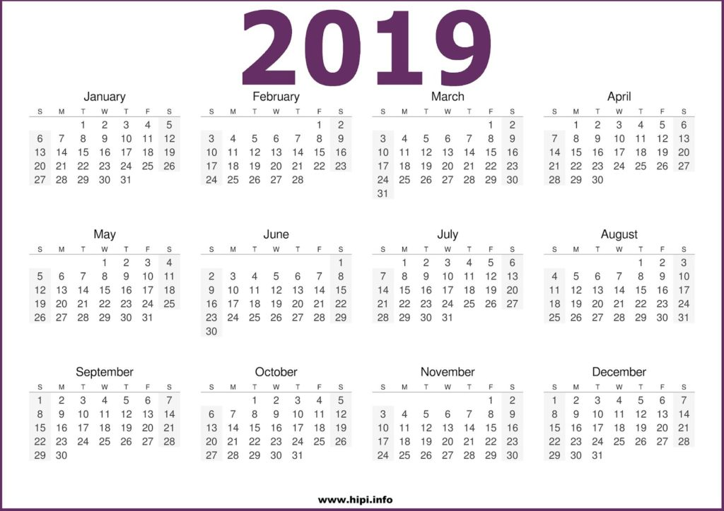 2019 Calendar Printable One Page Free - Free Download