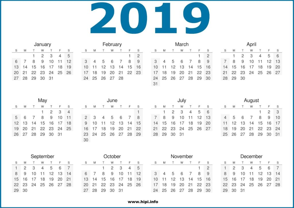 2019 Calendar Printable One Page - Free Download