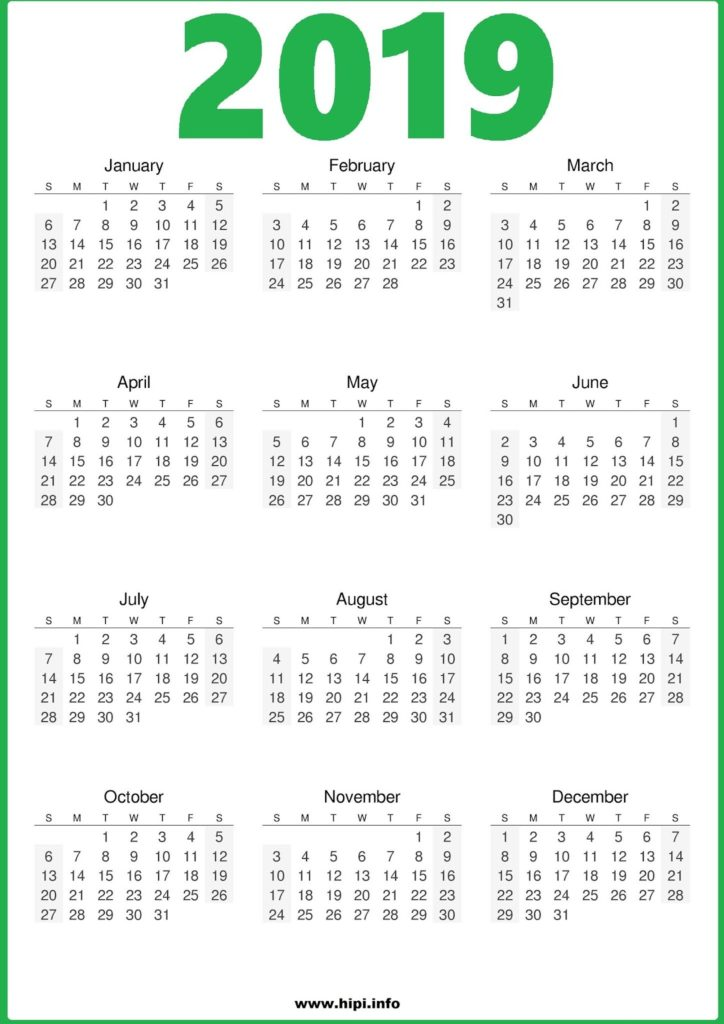 2019 Calendar Printable One Page Green - Free Download