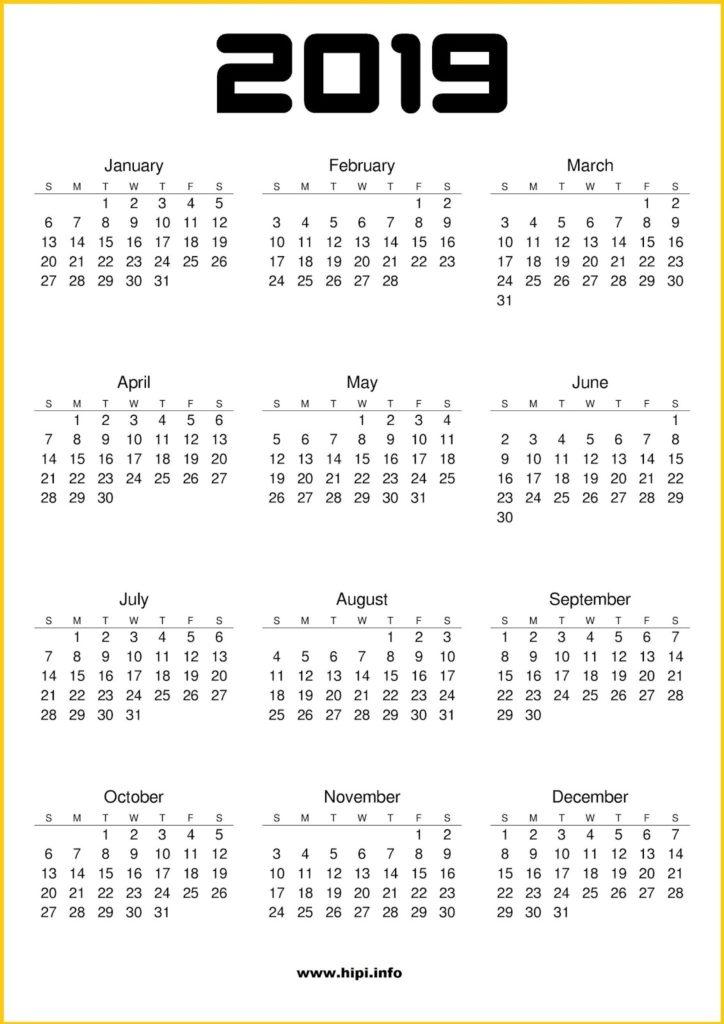 2019 Calendar Printable - Sunday Start - Free Download