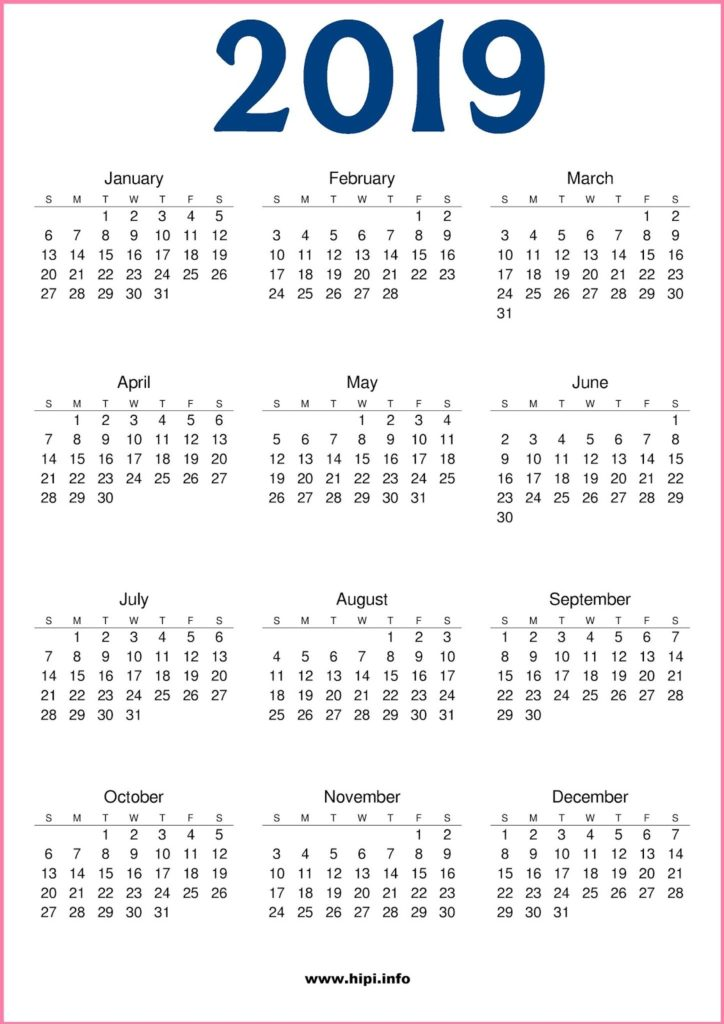 2019 Calendar Printable Sunday Start Free - Free Download