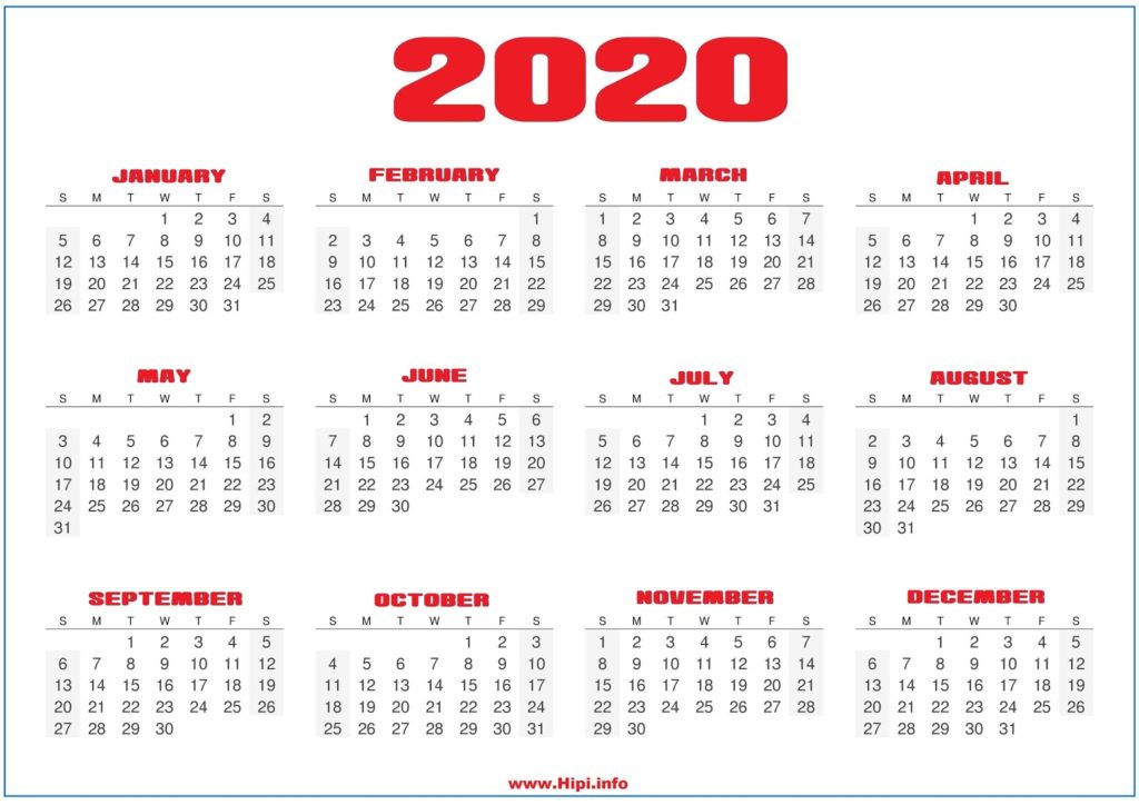 2020 Yearly Calendar Printable Free - Free Download