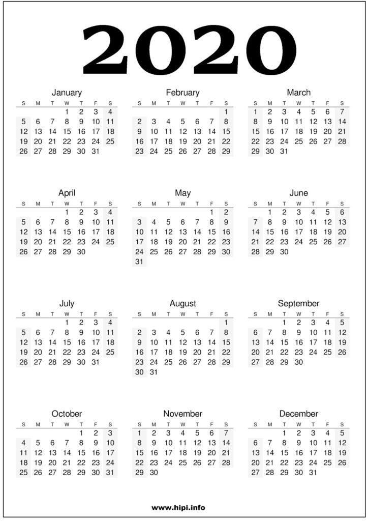 2020 Calendar Printable One Page Free - Free Download