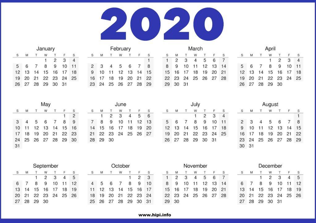 2020 Calendar Printable Free - 2020 Calendar Template