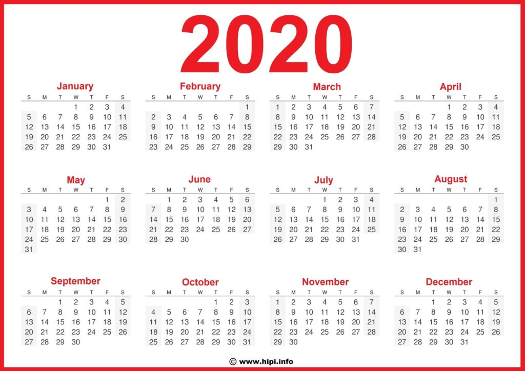 2020 Calendar Printable 2020 Free - Free Download