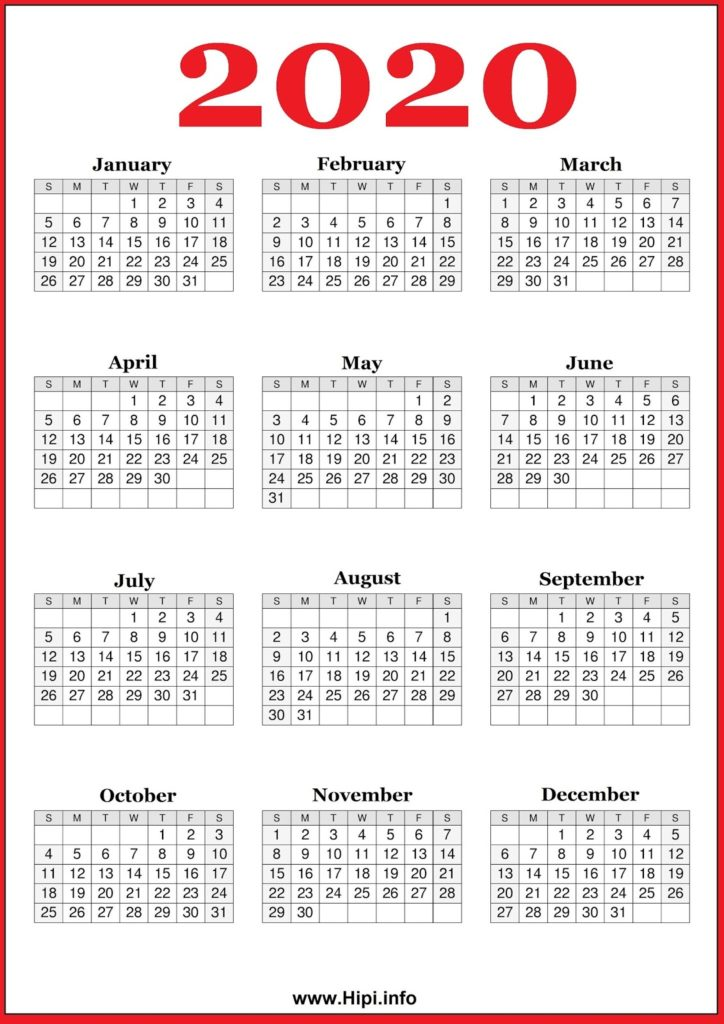 2020 Calendar Printable 2020 Calendar Free - Free Download