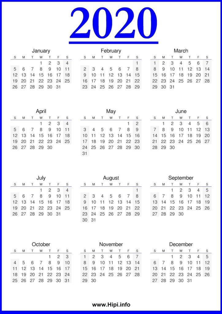 2020 Calendar Printable 2020 Calendar Free - Free Download