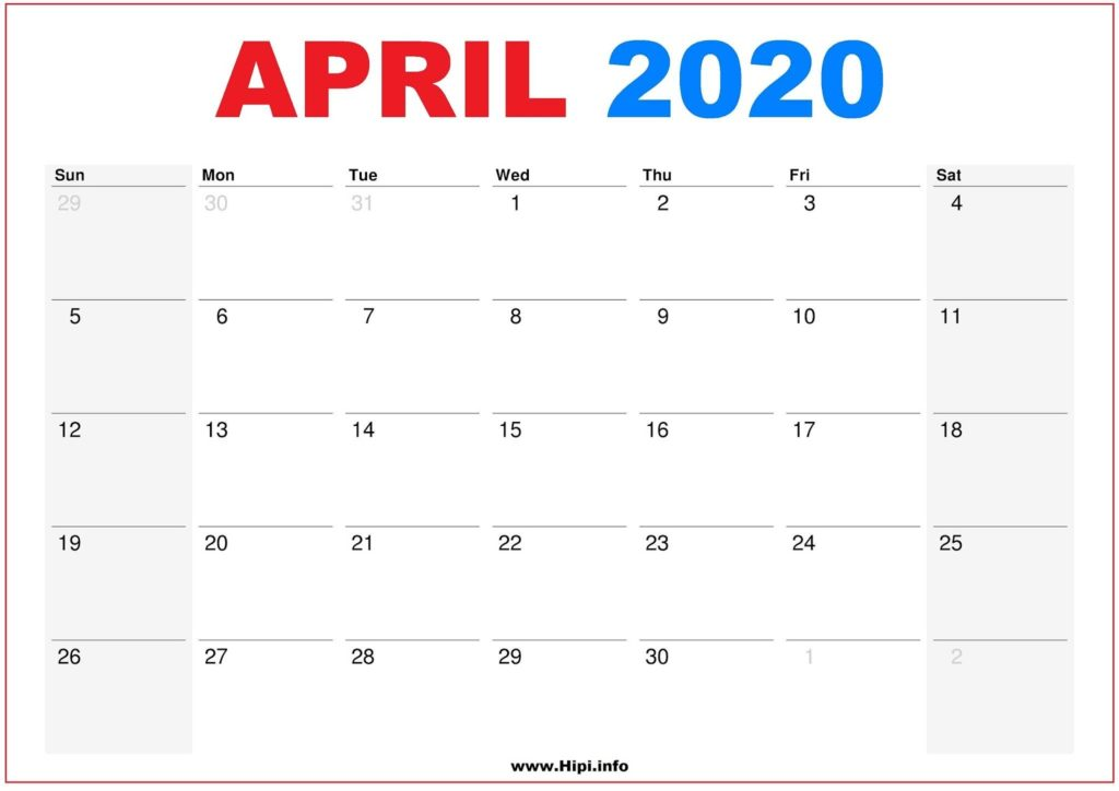 2020 Calendar Printable Monthly April - Calendar Free Download