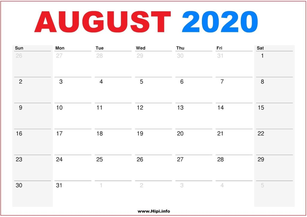 2020 Calendar Printable Monthly August - Calendar Free Download