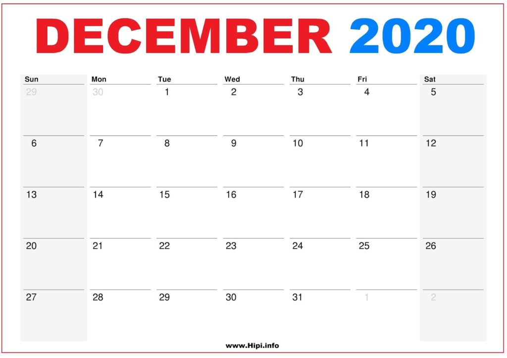 2020 Calendar Printable Monthly December - Calendar Free Download