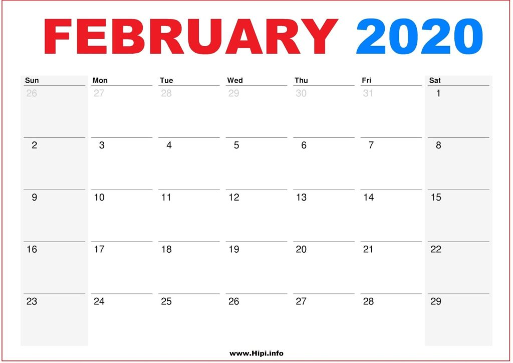 2020 Calendar Printable Monthly February - Calendar Free Download