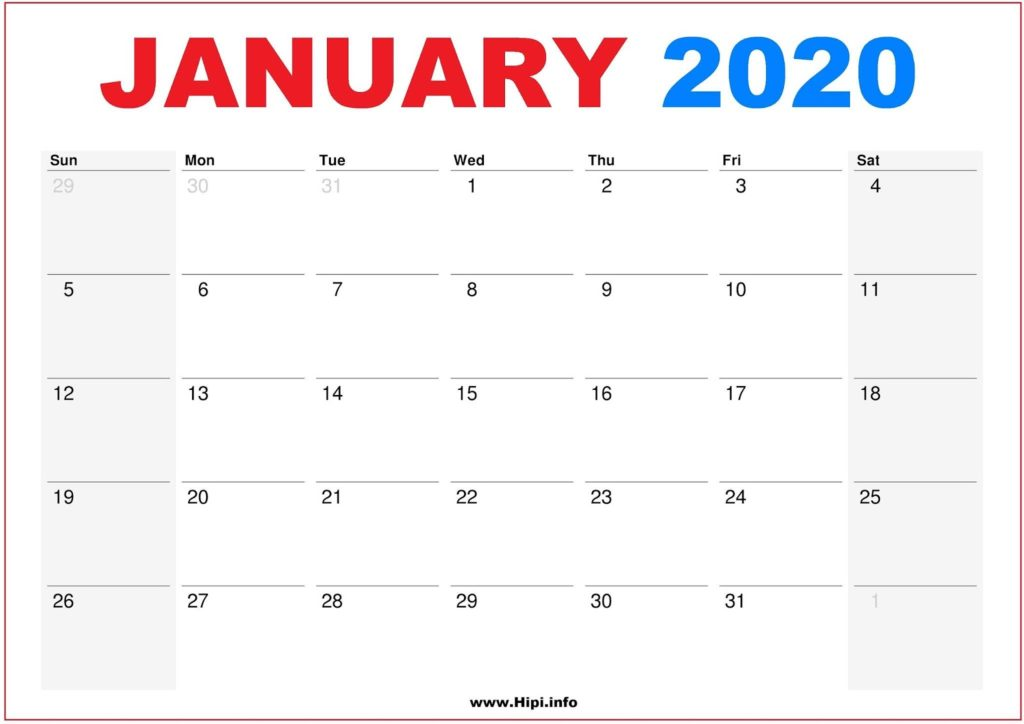 2020 Calendar Printable Monthly January - Calendar Free Download