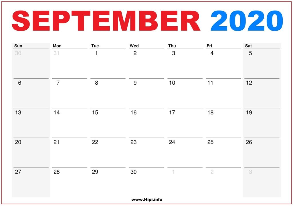 2020 Calendar Printable Monthly September - Calendar Free Download