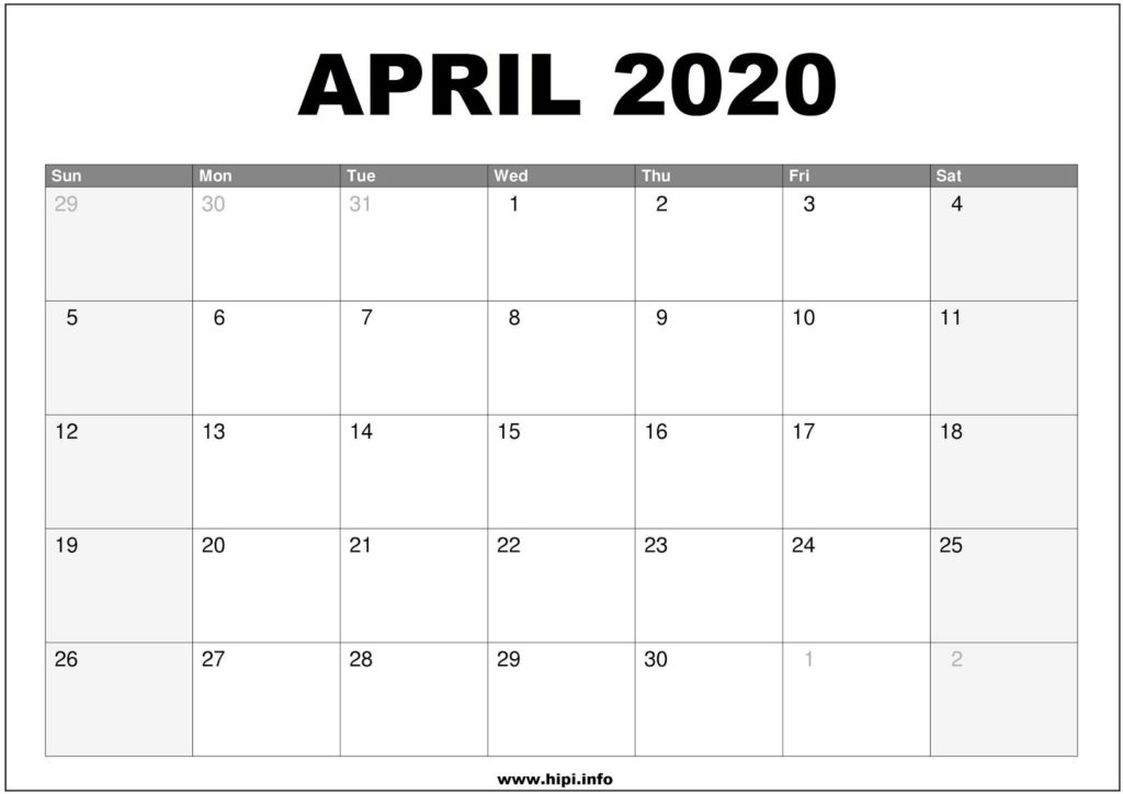 April 2020 Calendar Printable - Monthly Calendar Free Download