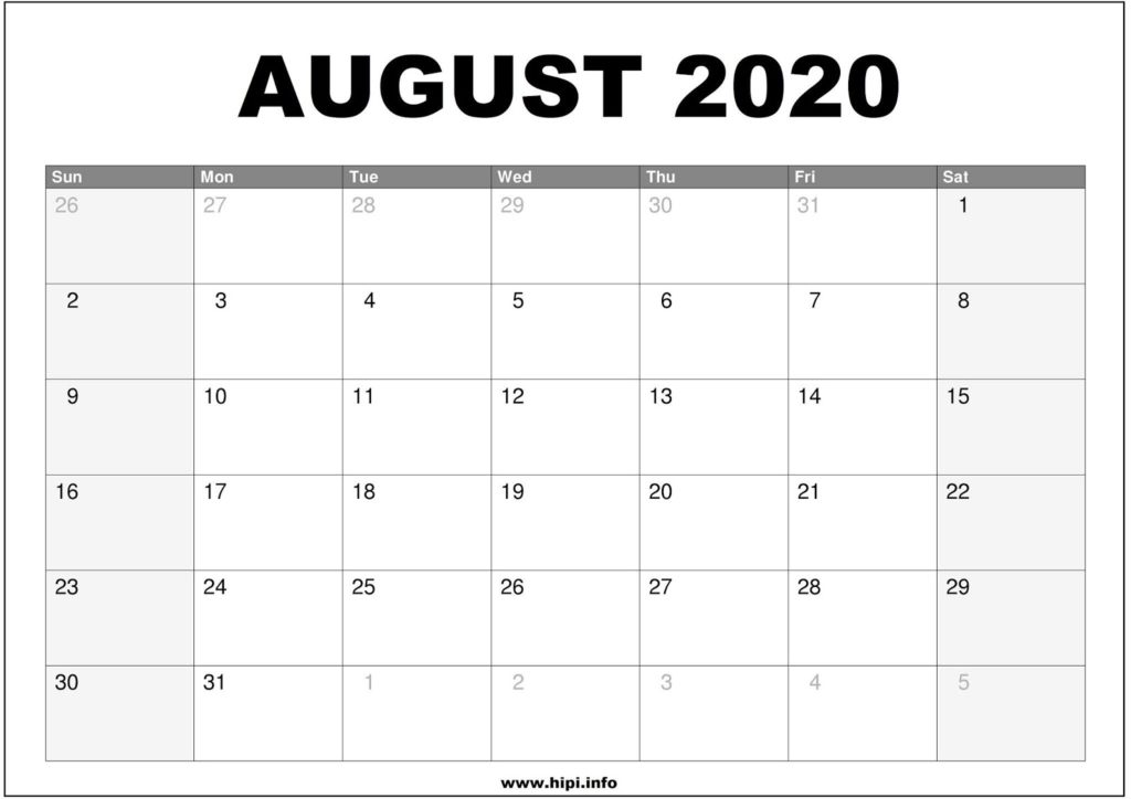 August 2020 Calendar Printable - Monthly Calendar Free Download