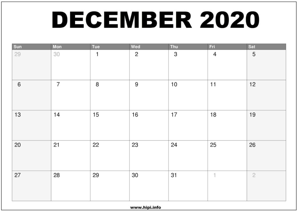 December 2020 Calendar Printable - Monthly Calendar Free Download