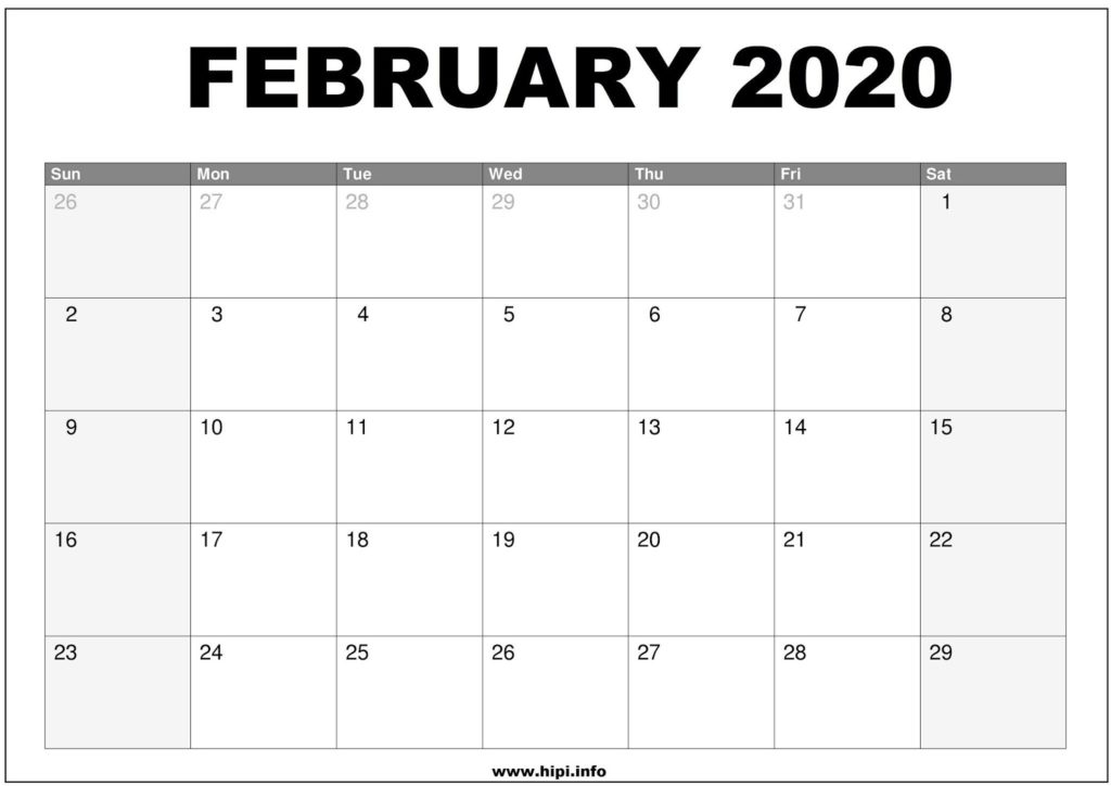 February 2020 Calendar Printable - Monthly Calendar Free Download