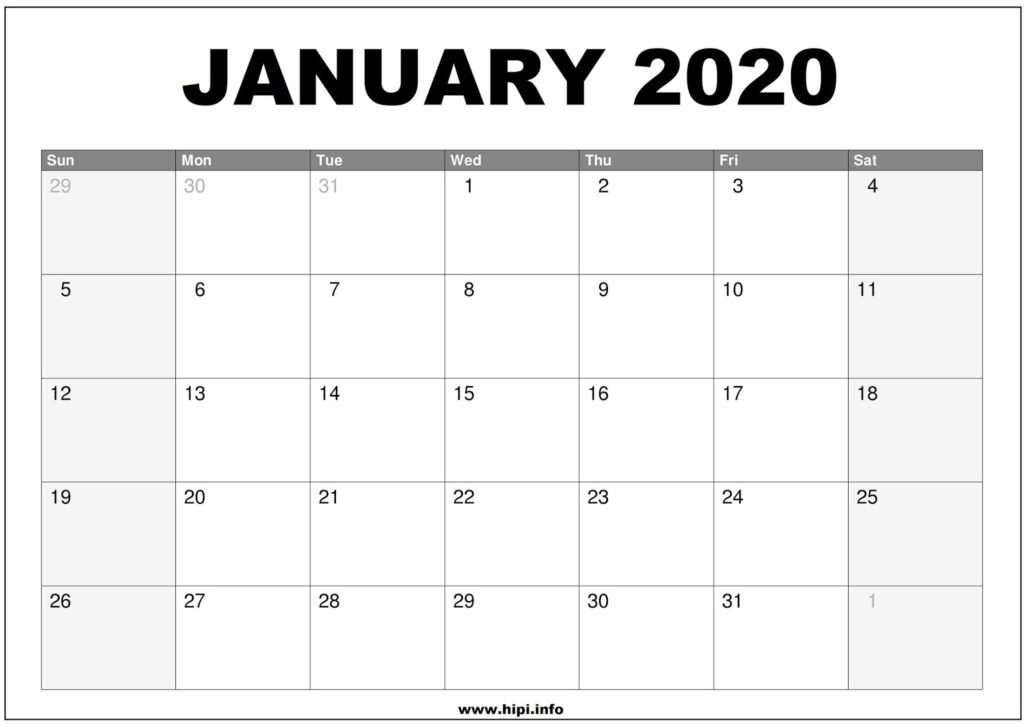 January 2020 Calendar Printable - Monthly Calendar Free Download