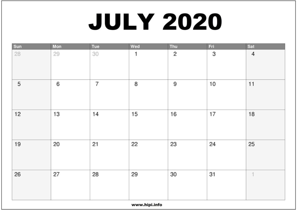July 2020 Calendar Printable - Monthly Calendar Free Download